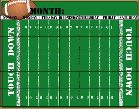 Football Calender Dry Erase - Kids Room Mural Wall Decals
