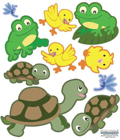 Frog & Turtle Wall Decals - Kids Room Mural Wall Decals