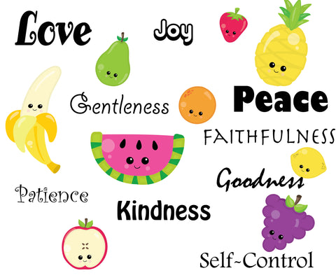 Fruit of The Spirit Words and Fruit Wall Decals
