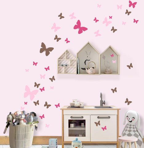 Butterfly Wall Decals for Girls -Hot Pink,Pink,Brown Vinyl Wall Decor Stickers - Kids Room Mural Wall Decals