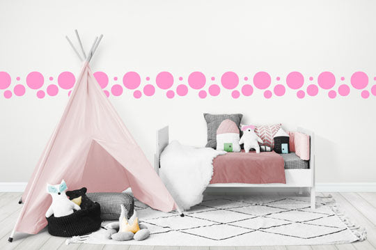 pretty pink polka dot wall stickers for girls rooms