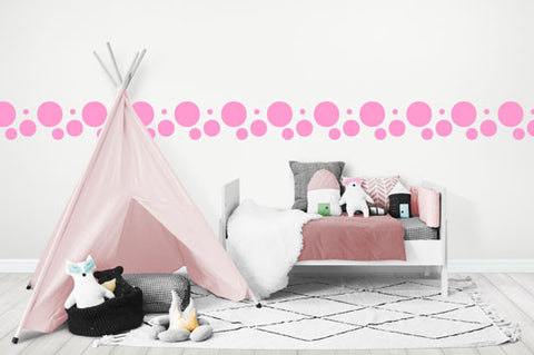 Pretty Pink Polka Dot Wall Decals - Create-A-Mural