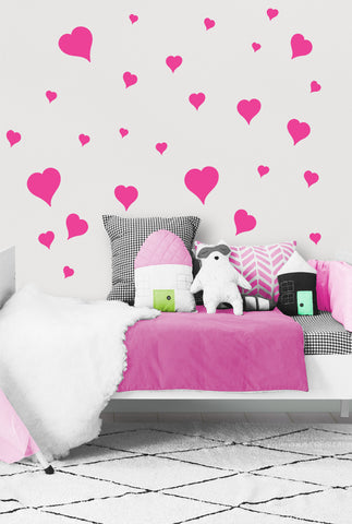Heart Wall Decals ~Girls Room Stickers (Hot Pink) - Kids Room Mural Wall Decals
