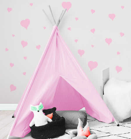 Heart Wall Decals ~Girls Room Stickers (Pink) - Kids Room Mural Wall Decals