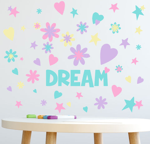DREAM Word Flowers, Hearts, Stars Girls Wall Decals - Kids Room Mural Wall Decals