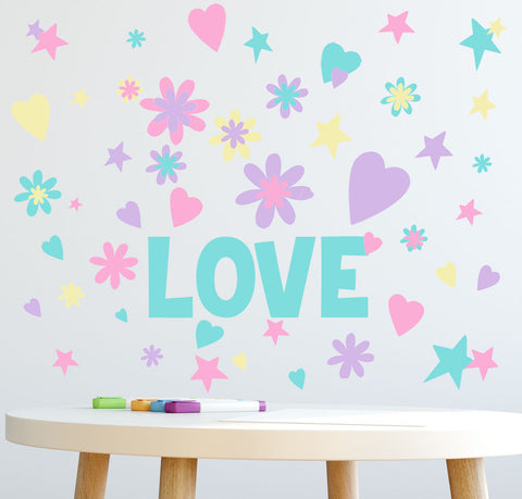 LOVE Word Flowers, Hearts, Stars Girls Wall Decals - Create-A-Mural