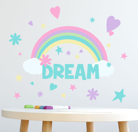 Rainbow Dream Girls Wall Decals (118) Pieces for Bedroom Peel and Stick Wall Decor Stickers for Nursery to Teen Girls - Kids Room Mural Wall Decals