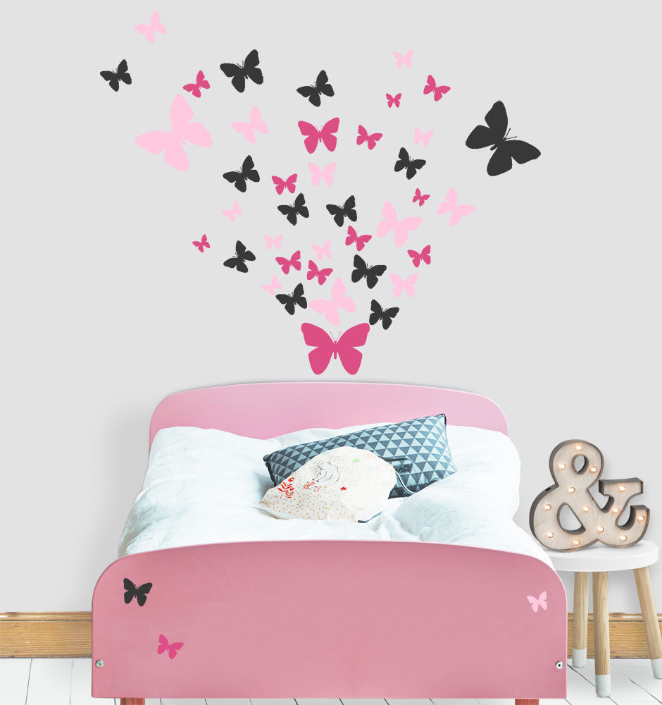 Butterfly Wall Decals- Girls Wall Stickers ~ Wall Art Sticker Decals  (Pink,Hot Pink,Black)