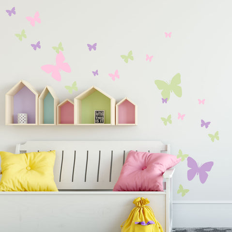 Butterfly Wall Decals- Pink, Lilac & Sage Green Appliques' - Kids Room Mural Wall Decals