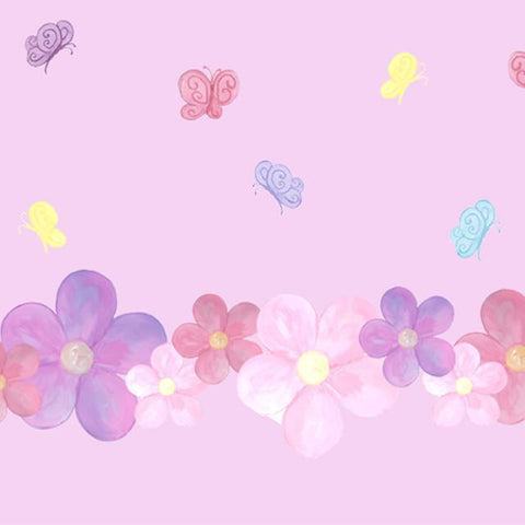 Pastel Flower & Butterfly Wall Stickers - Kids Room Mural Wall Decals