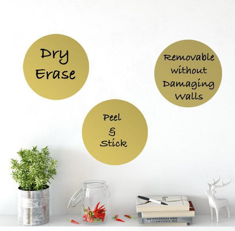Dry Erase Gold Dot Wall Decals - Kids Room Mural Wall Decals
