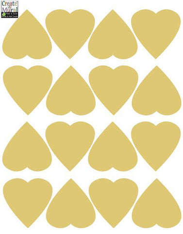 Gold Heart Wall Decals - Kids Room Mural Wall Decals