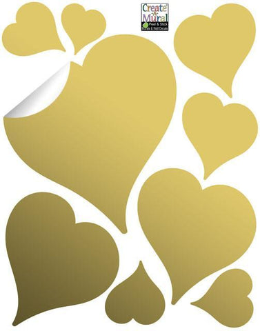 Fun Gold Heart Wall Stickers - Kids Room Mural Wall Decals