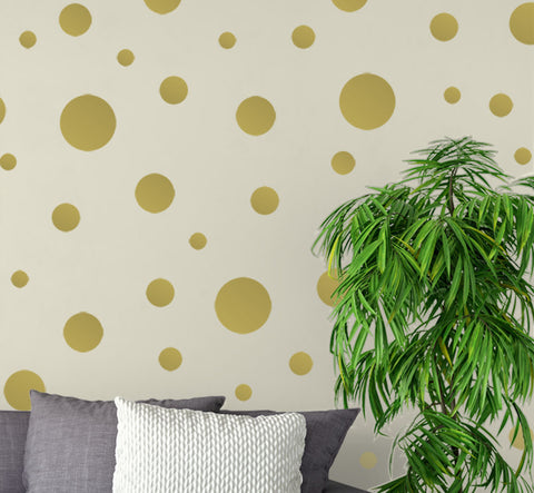 Gold Wall Dots - Kids Room Mural Wall Decals