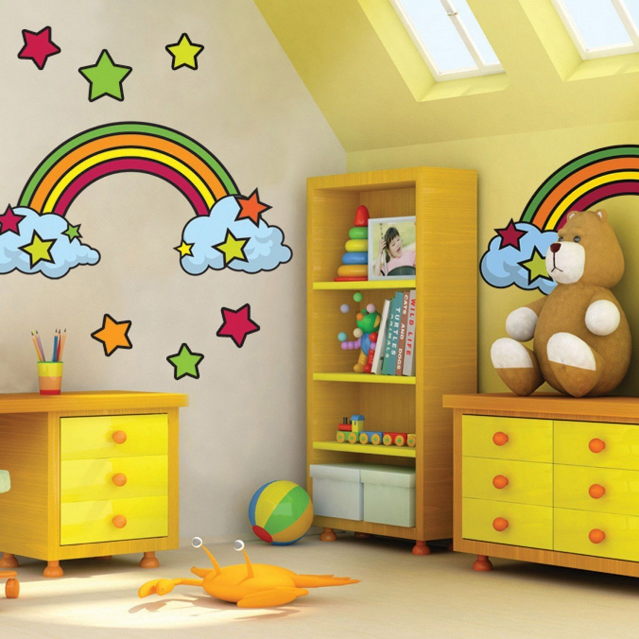 rainbow wall decals murals create a mural retro rainbow mural
