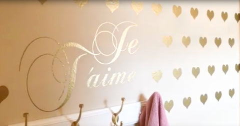 Je T'aime Hearts Wall Decals - Kids Room Mural Wall Decals