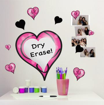 Swirly Dry Erase Heart Wall Decal - Kids Room Mural Wall Decals