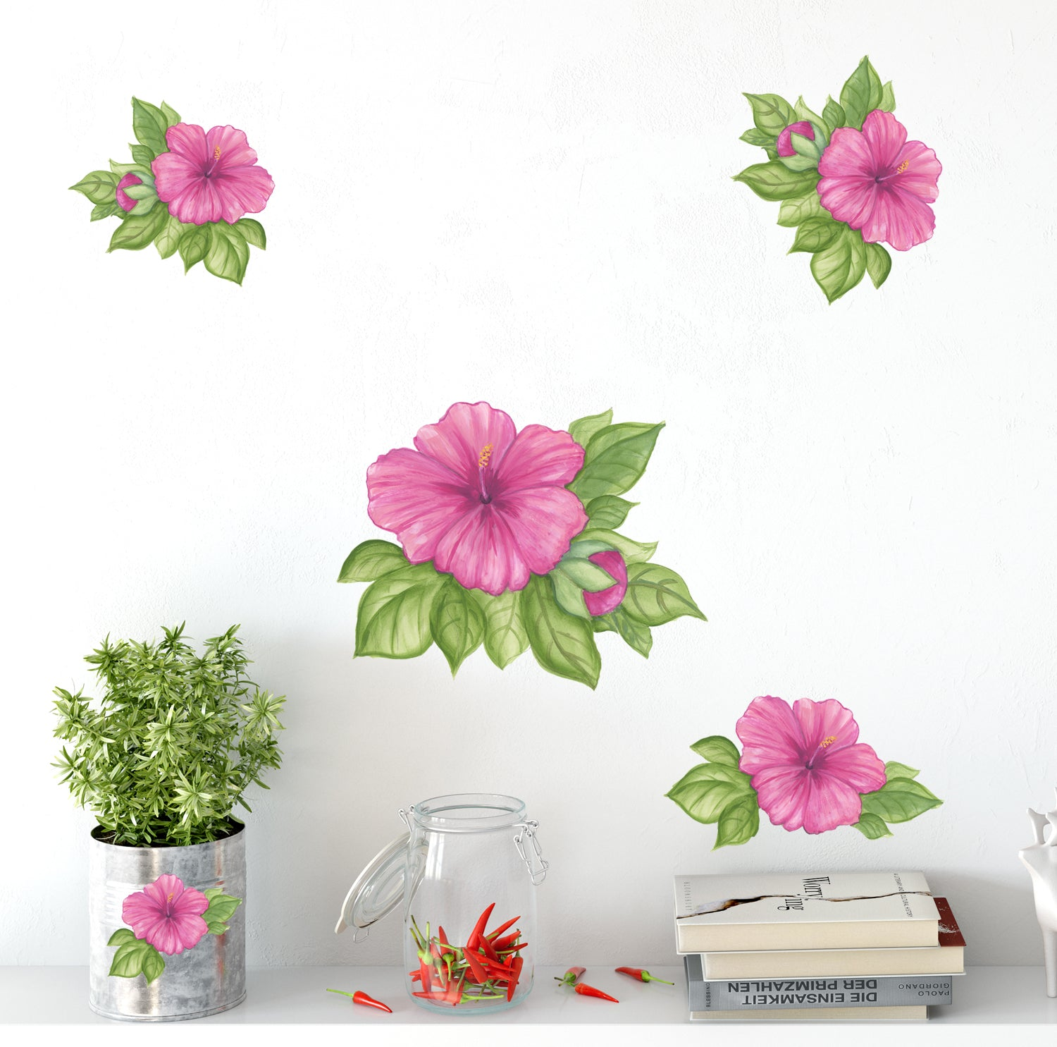 Hibiscus Wall Stickers Pretty Flower Room Decoration