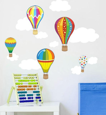 Hot Air  Balloon & Cloud Wall Decals - Kids Room Mural Wall Decals