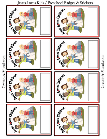 Jesus Loves Kids Name Tags & Stickers Template -Free Download PDF - Kids Room Mural Wall Decals