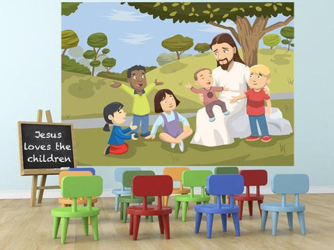 Jesus Loves The Children Mural - Kids Room Mural Wall Decals