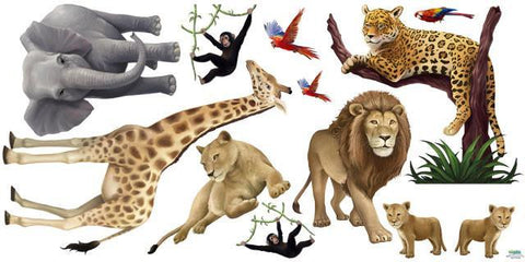 Jungle Animals Kids Mural Decals - Kids Room Mural Wall Decals