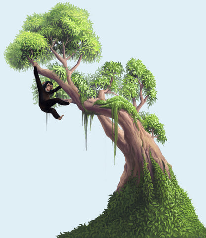 Jungle Moss Tree Mural - Kids Room Mural Wall Decals