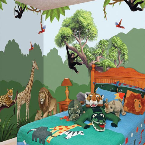 Jungle Adventures Mural Large - Kids Room Mural Wall Decals