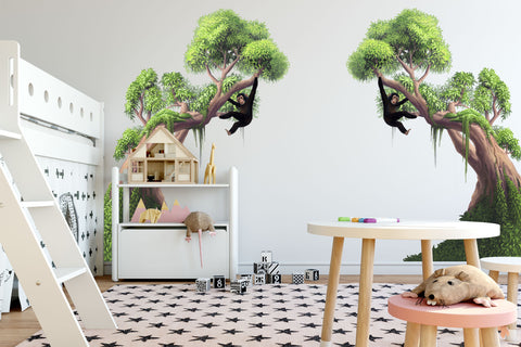 Jungle Moss Trees Right and Left - Kids Room Mural Wall Decals
