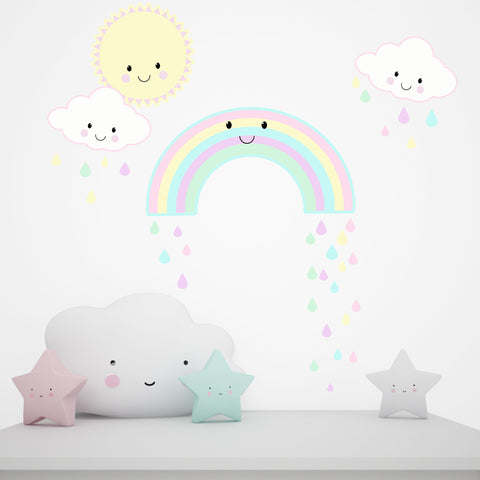 Kawaii Smiley Rainbow Sun Clouds Wall Decals - Kids Room Mural Wall Decals