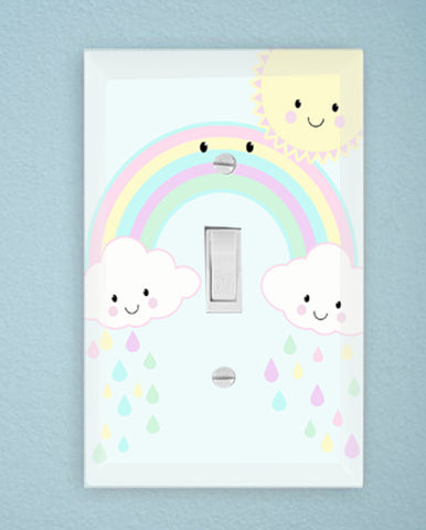 Smiley Rainbow Kids Room Light Switch Cover