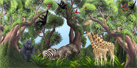 Jungle Animals Mural 1-Kids Wallpaper Church Ministry - Kids Room Mural Wall Decals