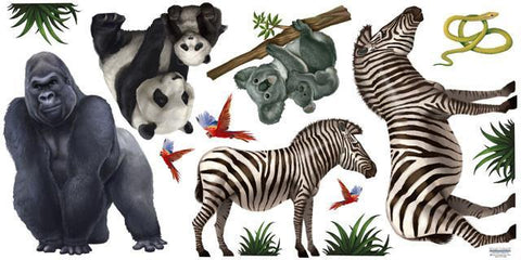 Jungle Animal Mural Decals 2 - Kids Room Mural Wall Decals