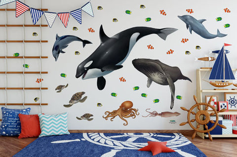 Ocean Mural -Kids Peel and Stick Undersea Wall Mural - Kids Room Mural Wall Decals