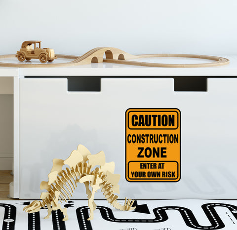 Construction Zone Sign Boys Room Decal - Kids Room Mural Wall Decals