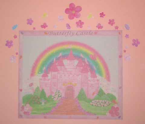 Butterfly Castle Mural -Girls Room Mural - Kids Room Mural Wall Decals