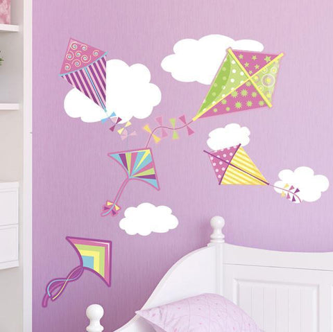 Girls Wall Decor~ Kites & Clouds Wall Decals - Kids Room Mural Wall Decals