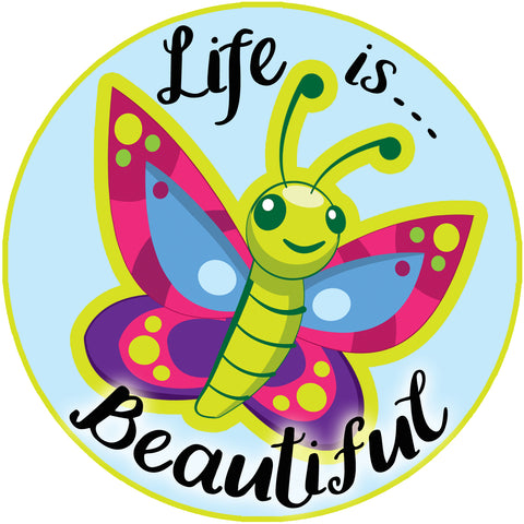 "Life is Beautiful Water Bottle Sticker & Tumbler Decal, Laptop Car Truck Sticker Waterproof 4"" - Create-A-Mural"