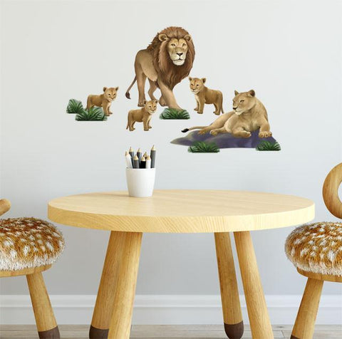 Lion Family Wall Decals for Kids Rooms - Kids Room Mural Wall Decals