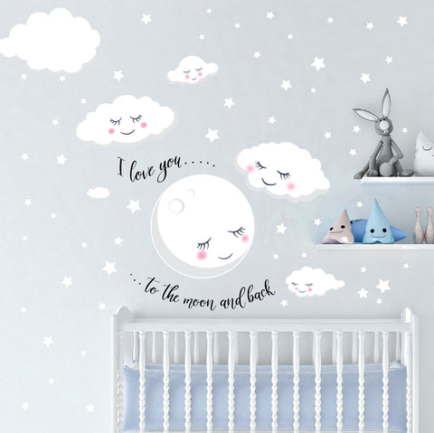 Love You To The Moon and Back Stars, Cloud Baby Nursery Room Wall Decals - Kids Room Mural Wall Decals