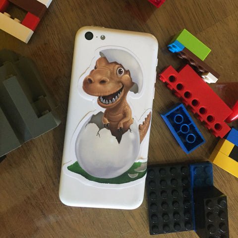 "Sticker for Kids, Cute Dinosaur Cell Phone ~ Best Decal for Smart Phone, Tablet or Water Bottle 4"" - Kids Room Mural Wall Decals"