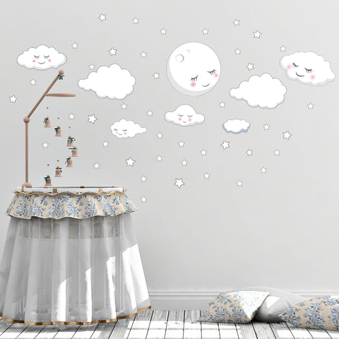 Sleeping Moon Clouds & Stars Room Decals - Create-A-Mural