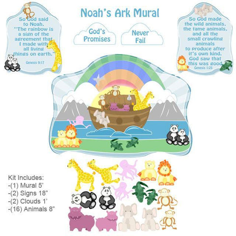 Noah's Ark Nursery Room Design Mural Kit - Kids Room Mural Wall Decals