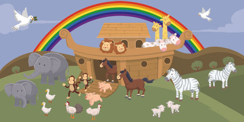 Noah's Ark Rainbow Kids Church Wallpaper Mural - Kids Room Mural Wall Decals