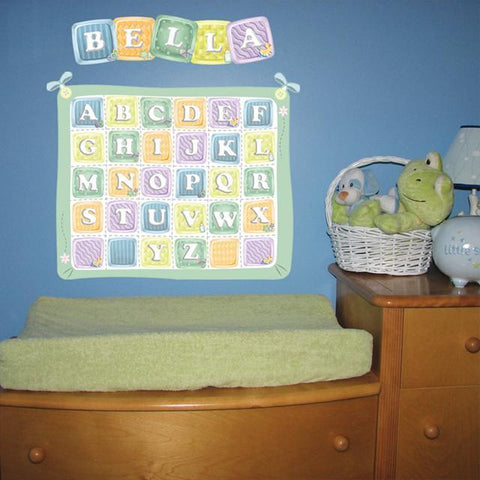 Baby Blocks Quilt Mural - Kids Room Mural Wall Decals