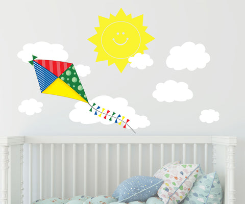Kite Wall Decal w/ Happy Sun and Clouds Wall Sticker Decor - Kids Room Mural Wall Decals