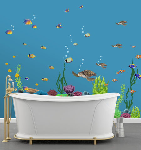 Large Ocean Theme Wall Decals Bundled -Fish, Seaweed, Sea Turtle, Coral