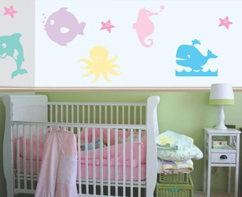 Girls Pastel Ocean Wall Decals - Kids Room Mural Wall Decals