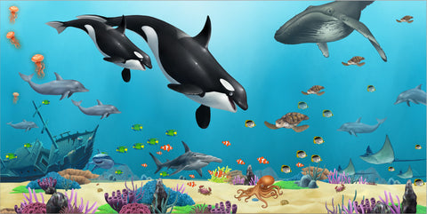 Large Ocean Under the Sea Mural - Create-A-Mural