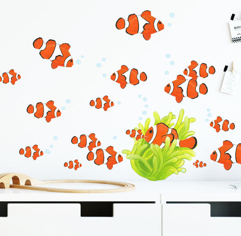 Clown Fish Wall Decals Art Decor Stickers - Kids Room Mural Wall Decals